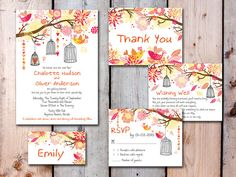 Digital - Printable Files - Summer Love Birds and Tree Wedding Invitation and Reply Card Set - Wedding Stationery - ID95