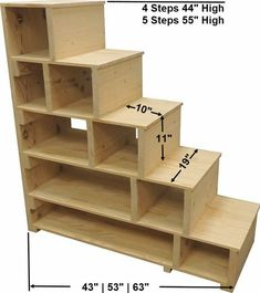 Stairs, steps & shelves can also be used as a standalone shelving unit. Stairs, steps & shelves can also be used as a standalone shelving unit. Loft Bed Stairs, Loft Bunk Beds, Tiny House Stairs, Bunk Beds With Stairs, Bunk Bed Ladder, Ladder To Loft, College Loft Beds, Diy Bunkbeds, Loft Beds For Teens