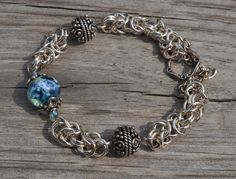 Ferrante Designs glass bead and byzantine chainmaille