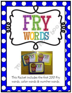 Take home Fry Word folders...1st 200 Fry words, color words and number words.  Great for students who need to be challenged!