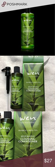Wen Bamboo Green Tea Cleansing Conditioner NEW, UNOPENED.  WEN® Bamboo Green Tea Cleansing Conditioner is an exclusive, antioxidant rich green, black, white and red tea complex with an exclusive bamboo water complex rich in vitamins, minerals, amino acids and silica essential for hair growth, WEN® Bamboo Green Tea is a nutrient-rich infusion for your hair. Chaz designed this formula from the ground up to repair, protect and strengthen your hair while improving elasticity, volume and shine in…