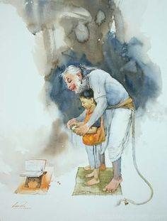 Lord Hanuman teaching to kid Bajan is purity Hanuman Ji Wallpapers, Lord Vishnu Wallpapers, Lord Shiva Painting, Krishna Painting, Shiva Art, Hindu Art, Om Namah Shivaya, Arte Krishna, Lord Rama Images