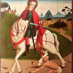 Saint Martin partage son manteau. Château royal de Budapest Hongrie c. 1490.
