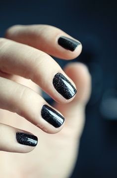 holographic black nails