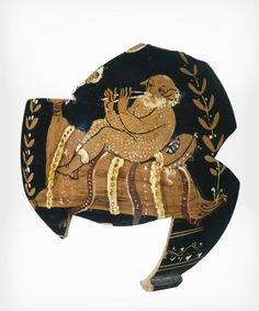 Fragment of an Apulian Squat Lekythos. Date: about 350 - 325 B.C. This fragment depicts a balding Papposilenos, nude except for boots, reclining on a large wineskin and playing an aulos. Magna Graecia, Greece Art, Greek Pottery, Greek Music, Satyr, Pottery Making, Dionysus, Ancient Greece, Archaeology