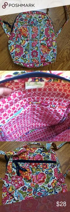 """Vera Bradley Small Backpack, """"Hope Garden"""" pattern Excellent condition, super clean inside and out, even the bottom.  Fits a tablet/small laptop, school notebook, and some girl gear. Has a top handle and **really nice silver buckles** on the straps if you look closely in the pictures. Small pockets inside, plus a large flap pocket on the front AND a zippered pocket on the back. Holds a slim bottle on both sides. A great carry-on bag! Retails around $90. Many accessories in this pattern on…"""