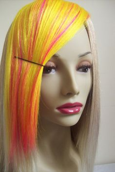 Neon Yellow and Neon Pink Mixed Layer Yaki Hair by RainbowVixen, $10.00