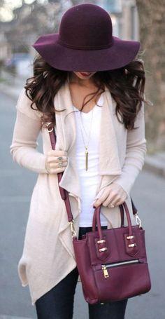 beautiful fall outfit_hat + top + blush cardigan + bag + skinnies