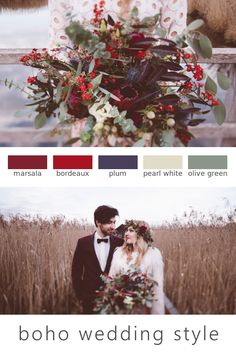 Color palette for your autumn boho wedding. Marsala, boreadux, plum, pearl white, olive green. (Flowers: @wildflowerstgt / Pictures: @AnaFeh)
