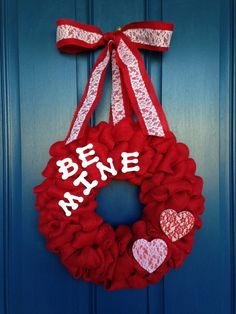 Be Mine Valentines Burlap Wreath by WoulfsCreations on Etsy, $40.00