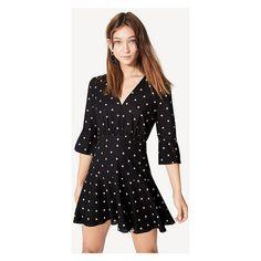 Black And Tan Spot The Lipton Dress ($229) ❤ liked on Polyvore featuring dresses, black and tan spot, bell sleeve mini dress, crepe dress, short polka dot dress, polka dot dress and polka dot mini dress