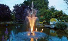 Ideen für die Teichbeleuchtung -  Farbige Fontänen oder Unterwasserstrahler: Inszenieren Sie Ihren Gartenteich mit Lichtinstallationen! Dank LED-Technik verbraucht eine Teichbeleuchtung wenig Strom und lässt sich sowohl unter Wasser als auch am Teichrand oder anderswo im Garten installieren.