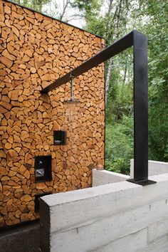 Outdoor Shower- Stone Creek Camp - rustic - Patio - Other Metro - Andersson-Wise Architects