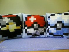 Pokéball Pillows by GameInspired on Etsy, $30.00