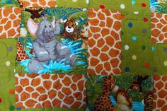 Jungle Animals Baby Quilt 39x 45 by Covequilter on Etsy, $60.00