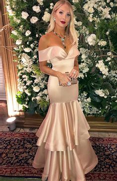 Sexy Off The Shoulder Ruffle Hem Mermaid Prom Dresses Long Satin Gowns CR 5433 Dresses For Teens Wedding, Prom Dresses 2018, Modest Dresses, Pretty Dresses, Evening Dresses, Summer Dresses, Satin Gown, Satin Dresses, Prom