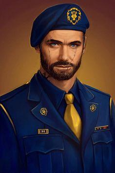 Alexander Marogos portrait by Cher-Ro on DeviantArt Character Portraits, Character Art, Character Design, World Of Wacraft, Warcraft Art, Sci Fi Characters, Wolf, Shadowrun, Military Art