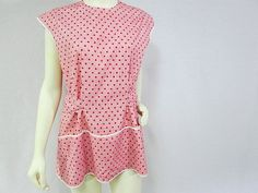 Vintage Cobbler Bib Apron Red Polka Dots by VintageLinens on Etsy, $28.00