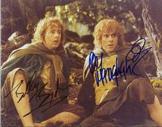 Billy Boyd and Dominic Monaghan Signatures as Peregrin Took and Meriadoc Brandybuck
