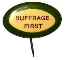 Suffrage Button with Carrie Chapman Catt slogan distributed by New York Woman Suffrage Party