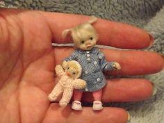 Miniature handmade MINI BABY GIRL TODDLER ooak DOLLHOUSE ART DOLL HOUSE 1/12