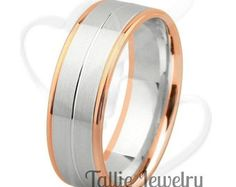 on sale mens 14k two tone gold wedding by talliejewelry on etsy - Gold Wedding Rings For Men
