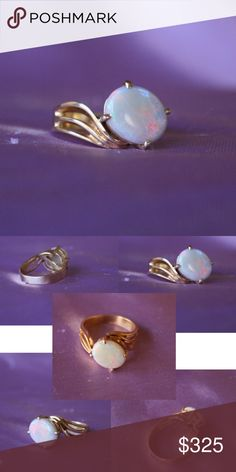 """14kt Gold and Opal ring Fiery Opal from Japan set in a large 14kt Gold setting custom made at the Jewelry district in San Francisco! Beautiful!! Size 8 ring. See photo for measurements.   I just talked with the neighborhood jeweler about my pricing, he says 'someone will be getting a very good deal!""""   He'd sale for $600!!  Not Available for Bundle Deals Jewelry Rings"""