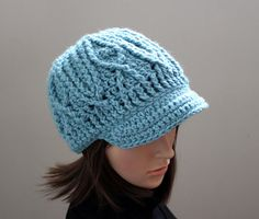 Cabled Seafoam Brimster by Threadmill on Etsy, $31.00
