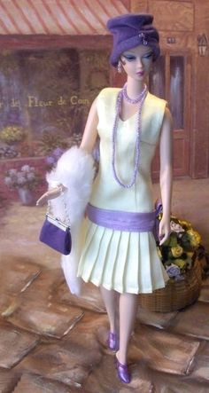 Lavender & Lemon ensemble created by Marlena Monice for Silkstone Barbie So charming! Doll Clothes Barbie, Barbie I, Vintage Barbie Dolls, Barbie World, Barbie Dress, Barbie And Ken, Barbie Style, Moda Retro, Barbie Friends