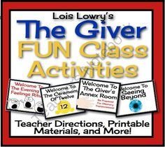 GIVER: Fun Class Activities Printable, Interactive, Assignments)  from Presto Plans on TeachersNotebook.com (68 pages)  - Bring your classes to life with these FUN and CREATIVE class activities for Lois Lowry's award winning novel, The Giver.