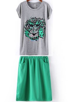 Green Batwing Short Sleeve Tiger Print T-Shirt With Skirt US$21.87