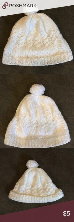 Baby hat Cream colored knit baby hat with Pom Pom on top. Accessories Hats