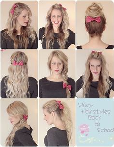 wavy ombre hair sytles back to school  with hair bow and extensions
