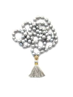 gold & gray jewelry - Knotted Pearls & Tassel Necklace
