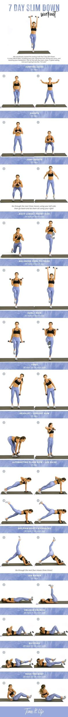 Tone It Up 7 Day Slim Down Workout! Being overweight or clinically obese is a condition that's caused by having a high calorie intake and low energy expenditure. In order to lose weight, you can either reduce your calorie intake, or else exercise regularly and reduce your calorie intake at the same time. It's always more beneficial to exercise as well. Many people don't exercise correctly when they want to lose weight. They think if they do high-impact cardio workouts or work out...