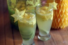 Coconut Sangria: white wine, Malibu, frozen Limeade, pineapple juice, Sprite or 7-Up