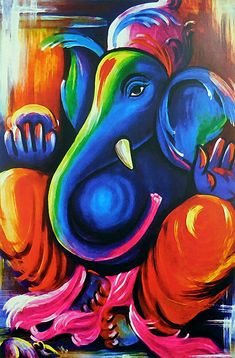 Artistic Ganesha Poster (Reprint on Paper - Unframed) Lord Ganesha Paintings, Lord Shiva Painting, Ganesha Art, Krishna Painting, Krishna Art, Small Canvas Art, Diy Canvas Art, Indian Art Paintings, Modern Art Paintings