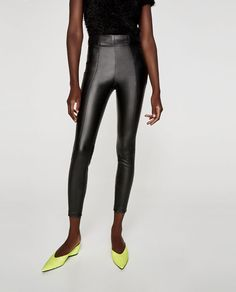 Image 3 of FAUX LEATHER LEGGINGS from Zara