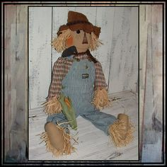toddler size primitive country style scarecrow by lazydayzlucy, $65.00 made to fit vintage bib overalls #fall decorating