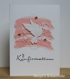 """Diese Karten sind meine persönlichen Favoriten!!! Den Hintergrund habe ich mit: """"Work of Art"""" von Stampin Up in Kirchblüte bzw. Himmelblau gestempelt. ... ... Die Stanzschablone der Taube ist von """"..."""