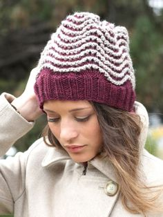 Free Pattern - Contrasting shades and a bold ripple pattern make this #knit hat an on-trend choice for fall and winter.