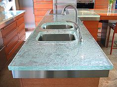 Kitchen countertops made from recycled glass.