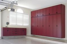 managing your stuffs in the garage through ikea garage storage: appealing ikea garage storage design with large maroon wooden cabinet and arched venetian blind