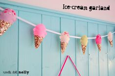 This a a super cute Ice-cream garland, it would look really lovely hung up in your childs room, nursery playroom, or even in your kitchen! ♥ It
