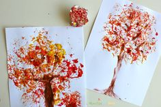 Make beautiful fall trees using foil printing! Teach warm colors and color mixing/blending