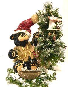"FREE SHIPPING Christmas Centerpiece TableTop Tree TALL Black Bear Winter Arrangement""Gone Fishing"" Pine 17"""