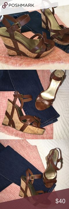 """Adorable Guess Cork Wedges Size 6     Guess cork wedges with super cute heel and bow accent with metal tab. Excellent condition. Worn one time.  4-4.5"""" heel with 1"""" platform.  ❌sorry no trades Guess Shoes Wedges"""