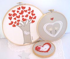 Tree of LoveEmbroidery HoopValentineChildrenHome by hartstringz, $30.00