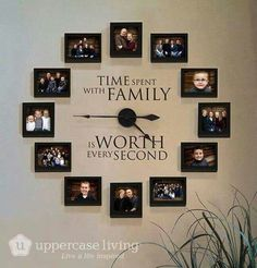 Time Spent With Family Clock Giveaway is part of diy-home-decor - I am giving away one of these beautiful Picture Frame Clocks from Uppercase Living Enter the giveaway and be sure to share with your friends Family Clock, Family Wall Decor, Living Room Decor, Family Family, Family Tree Wall, Family Room, Family Picture Walls, Hanging Family Pictures, Living Room Ideas