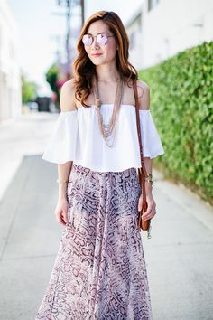 Outfit Ideas, Style Inspiration, Spring Fashion, Off the Shoulder  Top, Chloe Faye Bag